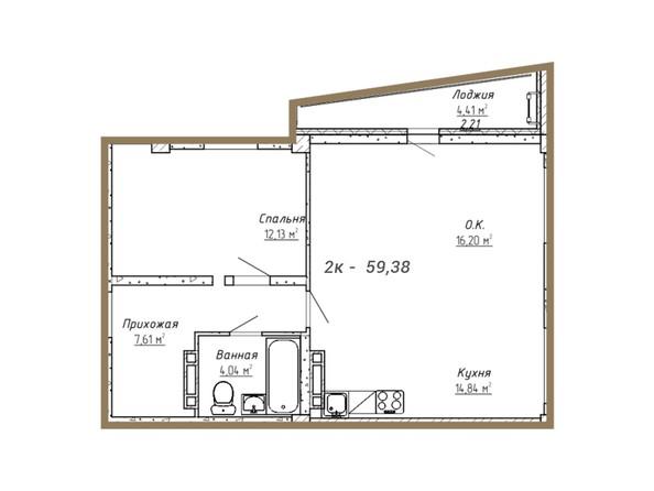 Планировки Жилой комплекс НА СИБИРСКОЙ ж/к - Планировка двухкомнатной квартиры 59,38 кв.м