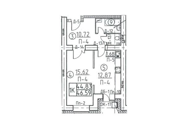 Планировки Жилой комплекс Некрасова, 45 - Планировка однокомнатной квартиры 46,59 кв.м
