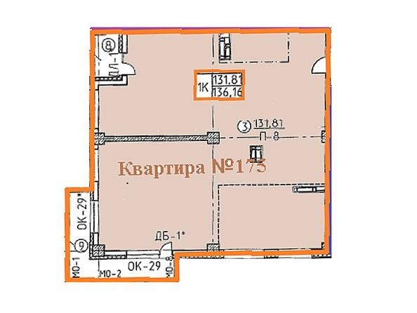 Планировки Жилой комплекс ОВРАЖНЫЙ ж/к, 2 дом - Свободная планировка квартиры 136,16 кв.м