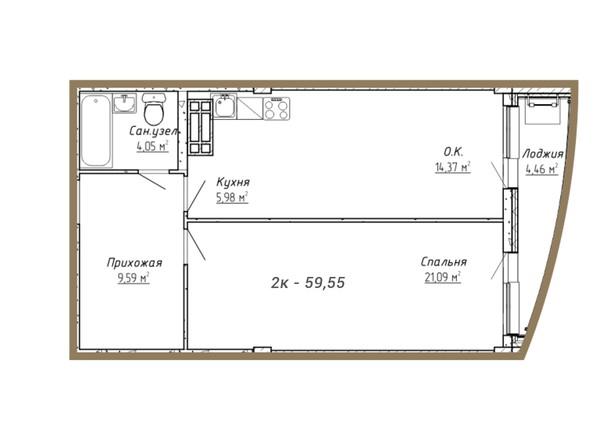 Планировки Жилой комплекс НА СИБИРСКОЙ ж/к - Планировка двухкомнатной квартиры 59,55 кв.м