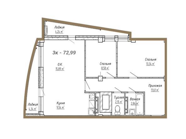 Планировки Жилой комплекс НА СИБИРСКОЙ ж/к - Планировка трёхкомнатной квартиры 72,99 кв.м