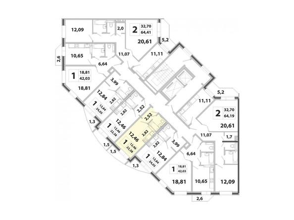 Планировки Жилой комплекс РАДОНЕЖСКИЙ ж/к, КПД-3 - Планировка двухкомнатной квартиры 22,38 кв.м