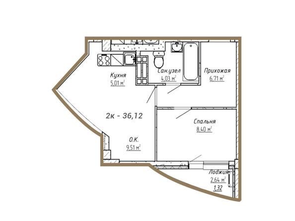 Планировки Жилой комплекс НА СИБИРСКОЙ ж/к - Планировка двухкомнатной квартиры 36,12 кв.м