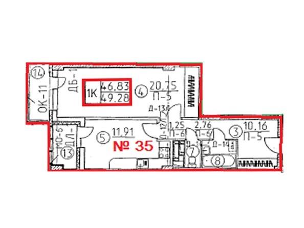Планировки Жилой комплекс ОВРАЖНЫЙ ж/к, 2 дом - Планировка однокомнатной квартиры 49,28 кв.м
