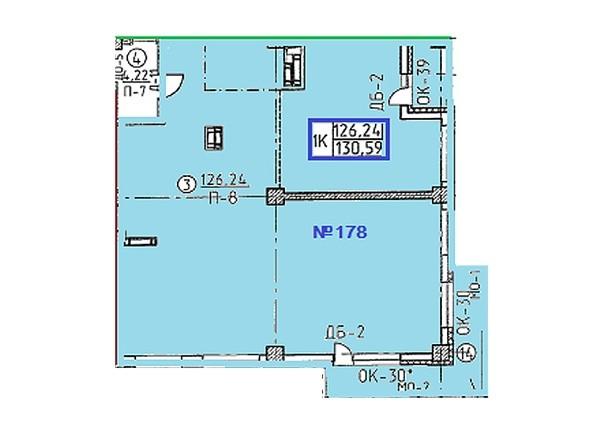 Планировки Жилой комплекс ОВРАЖНЫЙ ж/к, 2 дом - Свободная планировка квартиры 130,59  кв.м