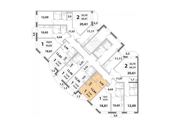 Планировки Жилой комплекс РАДОНЕЖСКИЙ ж/к, КПД-3 - Планировка двухкомнатной квартиры 24,05 кв.м
