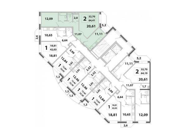 Планировки Жилой комплекс РАДОНЕЖСКИЙ ж/к, КПД-3 - Планировка двухкомнатной квартиры 64,41 кв.м