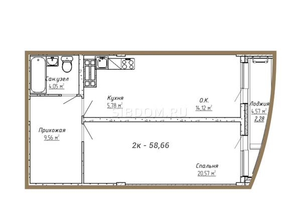 Планировки Жилой комплекс НА СИБИРСКОЙ ж/к - Планировка двухкомнатной квартиры 58,66 кв.м