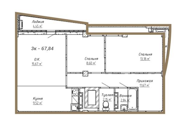 Планировки Жилой комплекс НА СИБИРСКОЙ ж/к - Планировка трёхкомнатной квартиры 67,84 кв.м