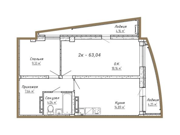 Планировки Жилой комплекс НА СИБИРСКОЙ ж/к - Планировка двухкомнатной квартиры 63,04 кв.м